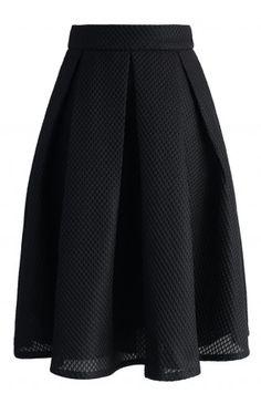 Black Waffle Pleated Midi Skirt - Retro, Indie and Unique Fashion