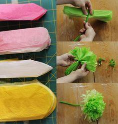 Flores de papel crepom. Serve para festa junina ou pra qq outro tipo de enfeite. Amei! (by dcoracao.com - blog de decoração)