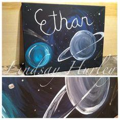 ethan,boy,boys,space,planets,stars Canvas Art By Lindsay Hurley www.earthseadesigns.webs.com/ www.facebook.com/earthseadesigns Space Planets, Canvas Designs, Hurley, Canvas Art, Neon Signs, Facebook, Stars, Boys, Artist