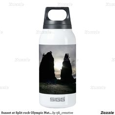 Sunset at Split rock Olympic National Park Thermos Bottle