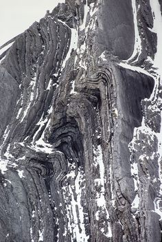 Folds in subvertical bedding, carbonate rocks:  Folding and faulting on the west ridge of Mount Evan-Thomas, Opal Range, Peter Lougheed Provincial Park, Alberta.
