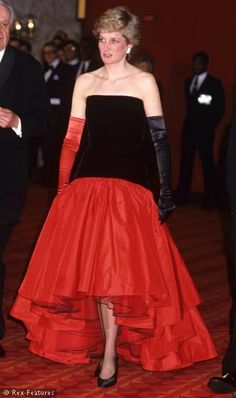 black and red gown