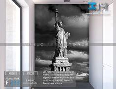 Fotomurales ciudad skyline NY Nueva York Estatua de la Libertad blanco y negro  (Tapiz) (mural) (fotomural) Decoración de muros y superficies lisas. Vinilo 314 Guadalajara Mexico. www.vinilo314.com