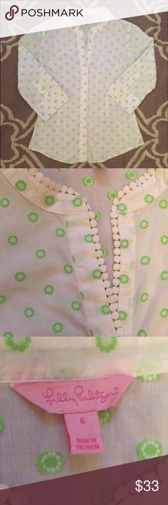 """Lilly Pulitzer Embroidered Button Down Sz S EUC! Lilly Pulitzer  Size 6, but best for a size small  3/4 sleeve, embroidered, button down top with circle trim  100% Cotton  Excellent used condition!  Bust: 19.25"""" across the front, lying flat.  Length: 25.5"""" from shoulder to hem.  ✳️ Bundle to Save 20%!  ❌ No Trades, Holds, PP, Modeling   100% Authentic!   ⭐️⭐️ Suggested User • 1300+ Sales • Fast Shipper • Best in Gifts Party Host! ⭐️⭐️ Lilly Pulitzer Tops"""