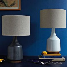 Morten Table Lamp #WestElm  2 Please! The white ones would be perfect on our bedside tables.
