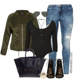 Plus Size Bomber Jacket Outfit - Alexa Webb Plus Size Fashion Blog, Plus Size Fashion For Women, Curvy Fashion, Look Fashion, Plus Size Women, Fashion 101, Fashion Ideas, Girl Fashion, Fashion Outfits
