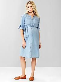 Collarless button-front dress