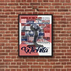 Typography Wichita Kansas Print Keeper of the by SunflowerStateArt Wichita Flag, Eaton Place, All Design, Kansas, Typography, Prints, Handmade, Letterpress, Hand Made