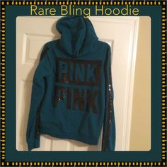 VS Bling Hoodie HTF This is a bling hoodie in mint condition.  Only worn once, it is like brand new!  It is a size L. PINK Victoria's Secret Jackets & Coats