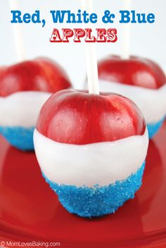 Red, White and Blue Apples are the perfect patriotic treat. Even better, they're only 3 ingredients! Candy coated apples dipped in blue sprinkles. So cute, so easy and so yummy!
