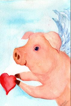 Flying Pig Offers a Heart Painting Original Pig by SharonFosterArt, $15.00