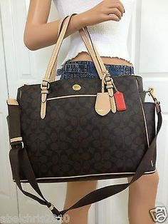 I WANT THIS!!!!!! NWT COACH BROWN BABY DIAPER BAG SIGNATURE LAPTOP CROSSBODY TOTE PURSE