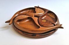 3 fish bowls snack platter/ tray set Rosewood by OmarHandmade