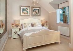 Gorgeous guest bedroom or grownup teenage girls sophisticated bedroom idea - french styling and love the botanical pictures above the bed - mellow mocha dulux paint again :)