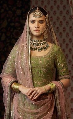 Embroidered kurta with a multi-patch work sharara and a badla dupatta Featured here: The classic Sabyasachi sangeet jewelry. Made in gold with uncut diamonds, emeralds, rubies and Japanese culture pearls. Indian Bridal Wear, Indian Wedding Outfits, Pakistani Bridal, Bridal Outfits, Pakistani Dresses, Indian Dresses, Indian Outfits, Bridal Dresses, Indian Wear