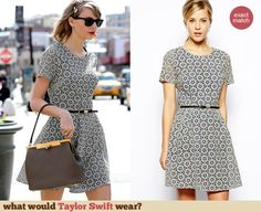 Taylor Swift's circular patterned dress out in New York. Outfit Details: http://wwtaylorw.com/2982