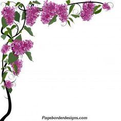purple flower corner clipart border -  9.6KB