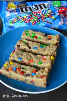 Chewy Cookie Bars with Mini Candies - kids love these! I have a recipe similar to this that has peanut butter in it, however, this recipe is great because so many kids have nut allergies.