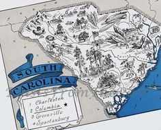Vintage SOUTH CAROLINA Map