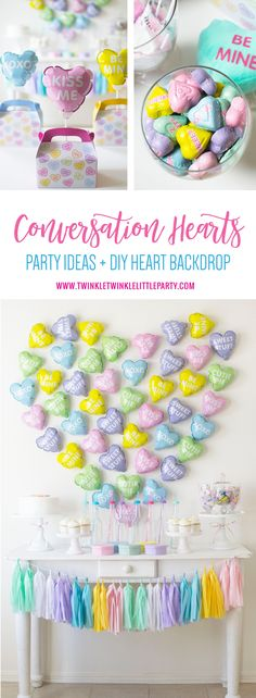 Conversation Hearts Theme Valentine's Day Party Ideas + DIY Heart Backdrop using mini heart conversation hearts Mylar balloons.