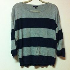 Gap Stripe Top Gap grey and blue stripe top. Sleeves are rolled up. Worn a few times. In good condition. GAP Tops