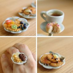 Dollhouse miniature food and food jewelry by The Mouse Market. http://blog.themousemarket.com/2013/03/25/miniature-food-jewelry-wearable-breakfast-treats/