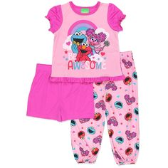 05f8847a05 These darling and colorful pajamas are sure to bring a smile to any girl s  face. This sleepwear set features graphics of your favorite PBS Kids Sesame  ...