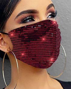 Lentejuelas Mascarilla Transpirable Reutilizable Online. Discover hottest trend fashion at chicme.com Easy Face Masks, Diy Face Mask, Eye Masks, Creation Couture, Mouth Mask, Diy Mask, Fashion Face Mask, Mask Design, Sequins