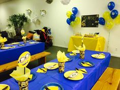 Despicable Me Minion themed birthday party with DIY decorations and table settings!