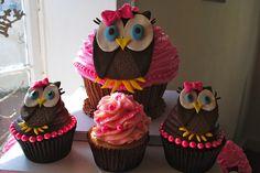 Owl Cupcakes #owl #cupcake #pink