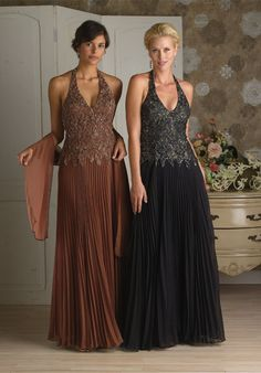 Distinct Halter Crumple Beading Lace Chiffon Floor Length Mother of Groom Dresses ,Mother of Bride Dresses,
