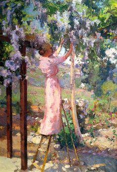 Mrs Bischoff in her Garden, by Franz Arthur Bischoff  (Austrian-American: 1864-1929)
