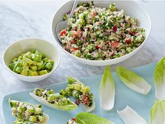 Quinoa Salad Recipe   Tasty.  Liked it with the avacado.  Used less parsley and mint than it called for.  Yummy.