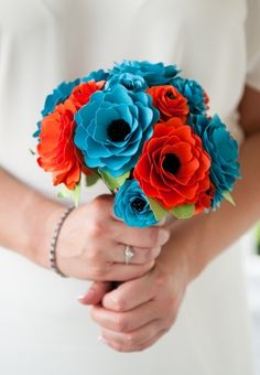 DIY paper flower bouquet.   Wedding by Julie Anne, Photography. Bouquet by morepaperthanshoes on Etsy.