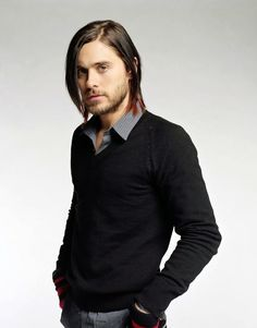 Jared Leto - wearing a Black Sweater w a Collared-Shirt -