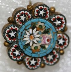 French micro mosaic button.