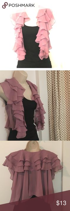 Ruffled Chiffon vest/shrug Got this in São Paulo Brazil at a really cool boutique.  I always seek out non-chain places when in an interesting city.  Lightweight little shawl vest is an awesome coverup when it's actually too hot for one!  Would keep but not a good color on me.  Works with jeans or maxi dresses.  It's a dusty pink/purple color, almost more like mauve. SAAD (brazilian indie label) Other