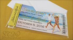 3x7 inch boarding pass save the date magnet with a clear sleeve and a white envelope.  Full photo background.  Good for a destination beach wedding!
