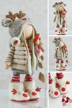 Textile Rag Doll Red Art Doll Tilda Baby Doll Fabric Decor   Etsy