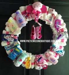 The Ultimate Diaper Wreath is finally here! The same popular wreath style that has been featured on numerous blog and remains the most popular tutorial on Facebook, and most pinned on Pinterest. This is my personal design and each wreath is made with special consideration to