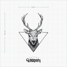 Geometric Deer Tattoo Available in 2 sizes by TattooWhatever
