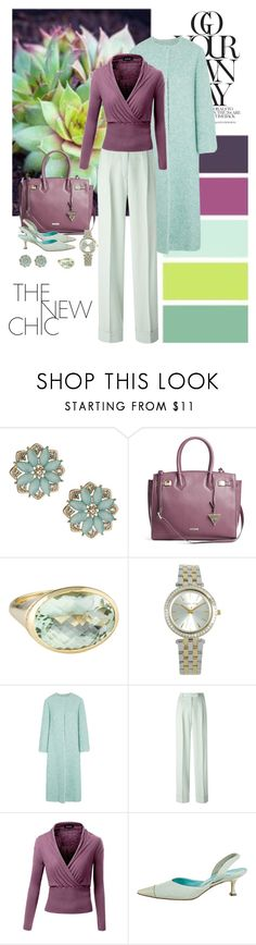 """""""Seafoam meets violet"""" by dezaval ❤ liked on Polyvore featuring Miss Selfridge, GUESS by Marciano, Michael Kors, Emilia Wickstead, John Galliano, Manolo Blahnik, chic, Elegant and totebags"""