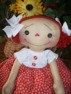Primitive Raggedy Ann INSTANT DOWNLOAD pattern 154 Button Eyed Annie HAFAIR