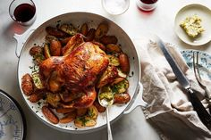 Buttermilk Roast Chicken with Potatoes and Cornichon Butter recipe on Food52