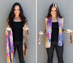 This beautiful lady shows you several ideas, with instructions,  on how to turn your scarves into chic vests. Love it!!