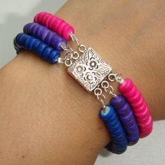 Gorgeous Custom Triple Strand Wood Bead Bracelet by MyBiPride, $22.00 #bi pride