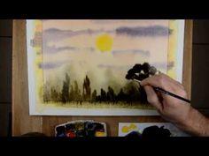 Aquarelle - peindre un coucher de soleil - watercolor sunset tutorial