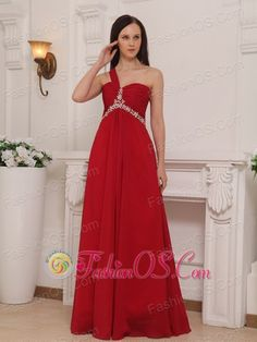 Red Empire One Shoulder Floor-length Chiffon Beading and Rush Prom Dress  http://www.fashionos.com    Romantic dresses with clean style. It features a gathered texture on full bust with a sweetheart neckline,a single strap cross the shoulders as well as the back. The dress has a nice beaded empire-waist and skirt is straight and nicely pleated so that it falls in clean lines at your feet.