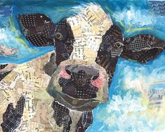 Lori Siebert Poster Print Wall Art Print entitled Cow Collage, None Newspaper Collage, Paper Collage Art, Collage Art Mixed Media, Collage Wall Art, Paper Mosaic, Mosaic Art, Magazine Collage, Magazine Wall Art, Multimedia Arts