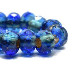 6pcs Matte Blue Opal Frosted Sea Glass Window Table Cut Flat Coin Wheel Czech...